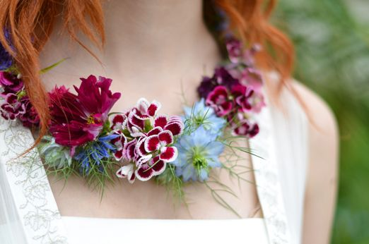 Country garden and dreamy meadow inspired bridal bouquets full of seasonal blooms and a necklace made of flowers