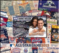 2013 MLB All-Star Game 8 x 8 Ticket & Photo Album Scrapbook - Mets.     -  Design features historic All-Star Game tickets - Includes 10 sheets/20 pages measuring 8x8  - Additional pages can be added  - Personalize with your own photo on the front cover - Officially licensed by MLB