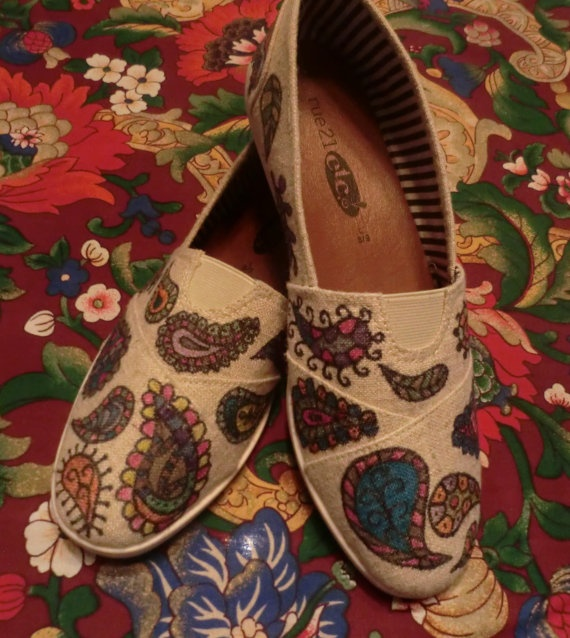 GYPSY SOUL  Hand Decorated Toms Style SHOES by BabylonSisters, $65.00