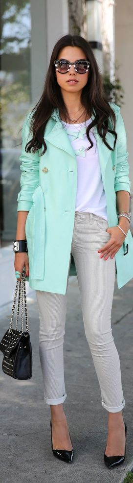 A great mint coat can be festive this #StPatricksDay, even if its cold! find more women fashion on www.misspool.com
