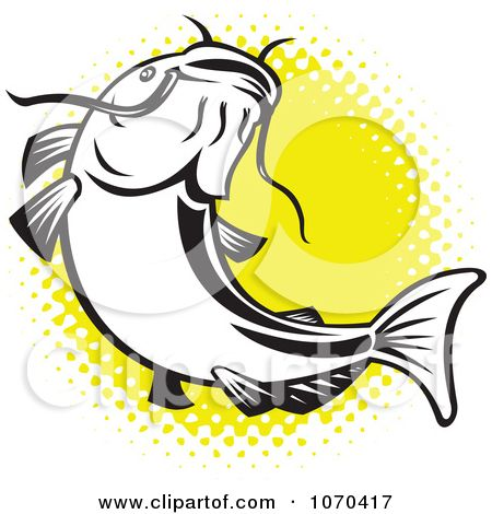 Catfish+Tattoo+Designs | Clipart Catfish Over Yellow Halftone - Royalty Free Vector ...