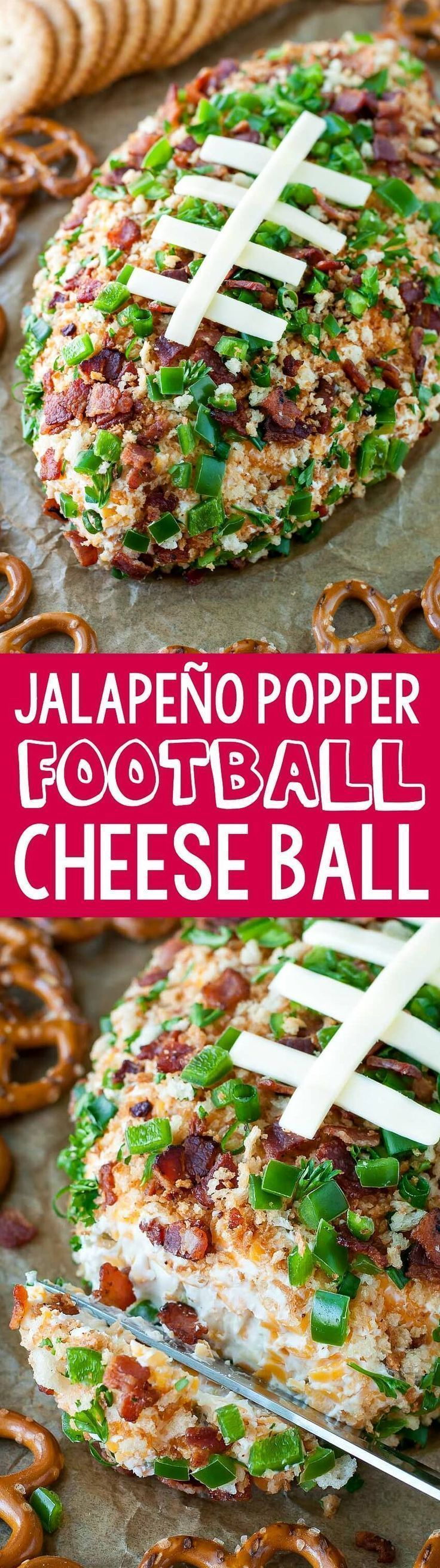 This Jalapeño Popper Football Cheese Ball is sure to make a touchdown at your next game day party! Spread it on crackers or dive in with pretzels and enjoy!