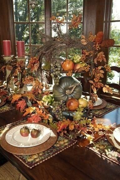 Thanksgiving Table--I would put that centerpiece on a sideboard, way too tall, but WOW what a look!