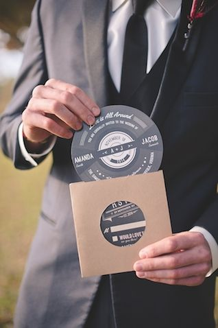 Rock n roll wedding invitation | Bit of Ivory Photography | see more on: http://burnettsboards.com/2015/03/modern-retro-rock-roll-stylized-shoot/