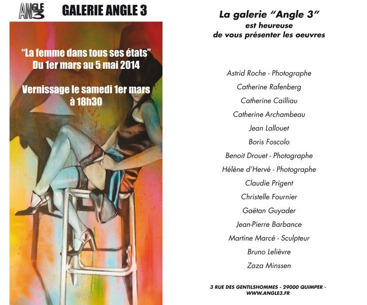 Nouvelle expo La femme dans tous ses états - Galerie Angle 3 - Quimper - A partir du 1 er mars 2014 - BvLn