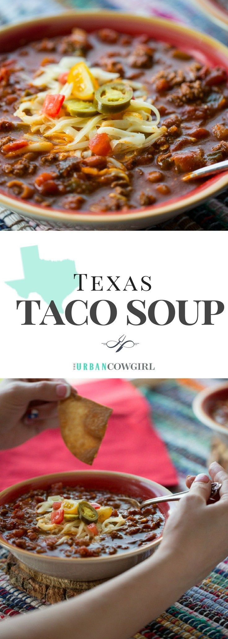 Texas Taco Soup is a warm and hearty dish to satisfy your cravings at the end of a cold day. Top with all of your favorite taco toppings for a dish thats ready in 30 minutes and costs pennies to make! Get the recipe now! --> www.urbancowgirllife.com/texas
