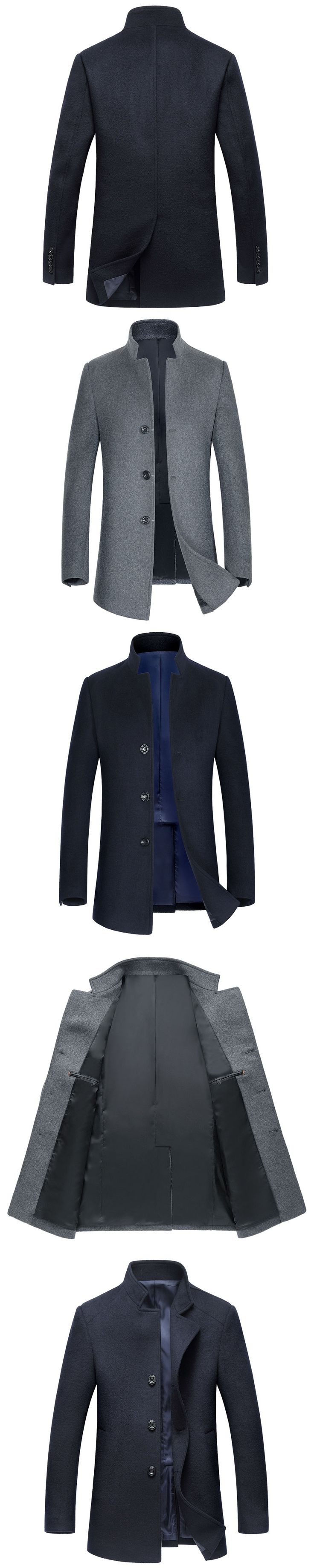 2017 New Men Winter Pattern Leisure Fashion Male Mandarin Collar Jacket Blend Wool Coat Cotton Luxury Long Sleeve Free Shipping