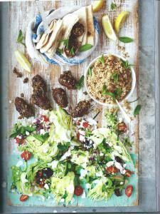 Lamb Kofte Pitta and greek salad - Jamie Oliver
