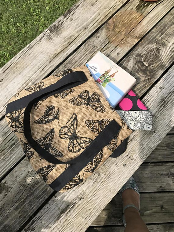 Black and tan butterfly burlap tote
