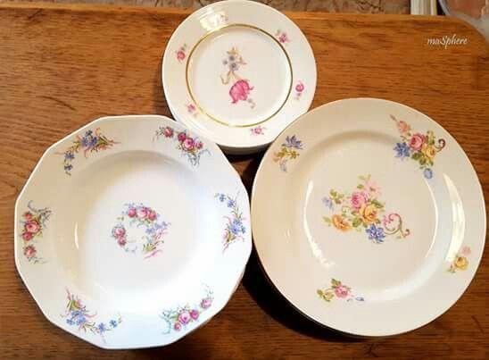 Oferta, 80€ conjunto de 6+6+6 platos de porcelana Limoges. #porcelanalimoges #porcelanaantigua #masphere  #regalosdeboda