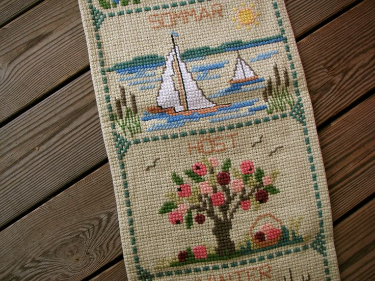 Season wall hanging tapestry, Swedish vintage embroidered cross stich by CieliasGarden on Etsy