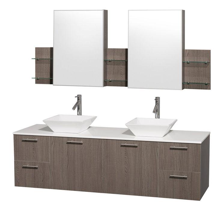 amare 72 gray oak wall mounted double bathroom vanity set