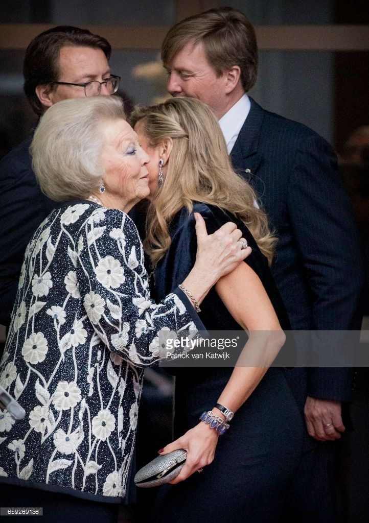 Queen Maxima and Princess Beatrix kissing goodbye after the ballet performance offered by the President of Argentie at theater Dilligentia on March 28, 2017 in The Hague, The Netherlands. The President of Argentina is in the Netherlands for a two-day official state visit.