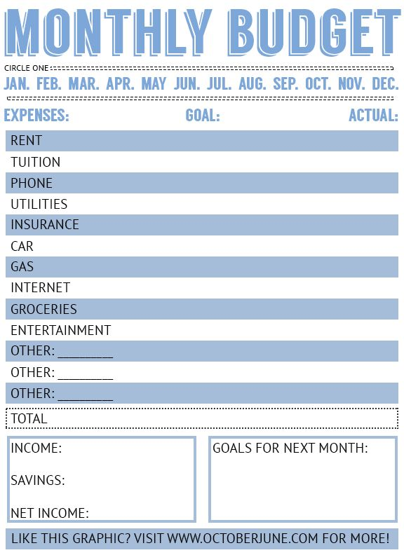 Free printable budget worksheets for students