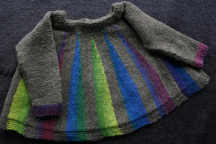 From KatyPi: Rainbow BFL sliver with grey I bought to go with it. The pattern is 'Maggie's Tiny Dress' on Ravelry.com
