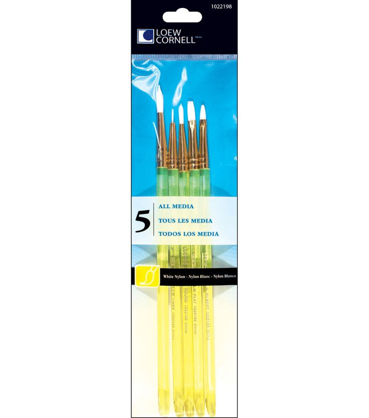 White Nylon Craft Brush Set - 5/Pk