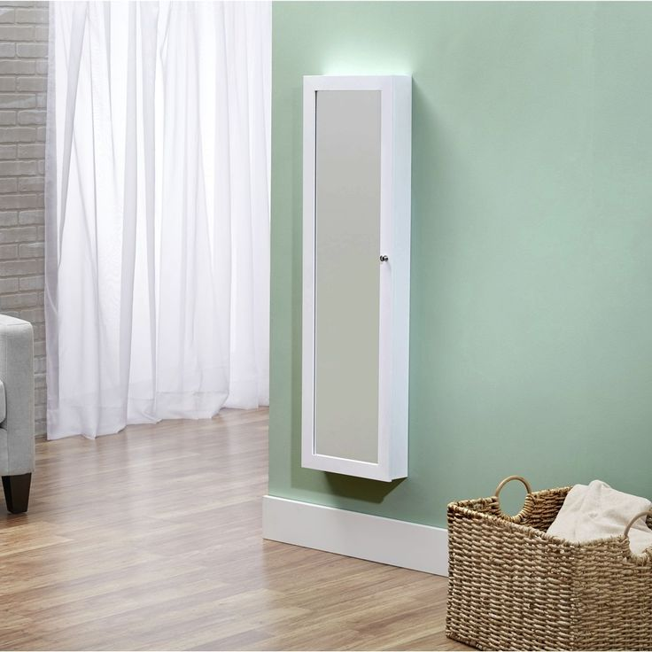 Ideal InnerSpace Over the Door Wall Hang Mirrored White Jewelry Armoire