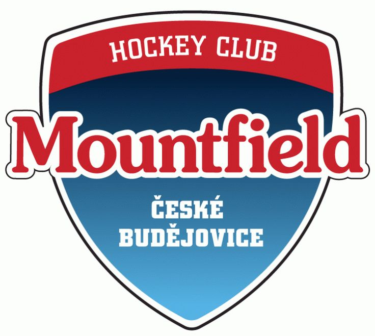 HC Mountfield České  Budějovice Primary Logo (2006) - Mountfield is the sponsor for HC České Budějovice. Mountfield is a Czech company that sells garden products. That may explain the fact that the font looks like it is off a bag of cookies.
