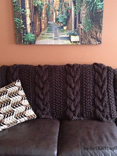ASPEN Blanket By Go-Girl Knitting by Tammy DeSanto - cabled knit blanket using US 50 needles