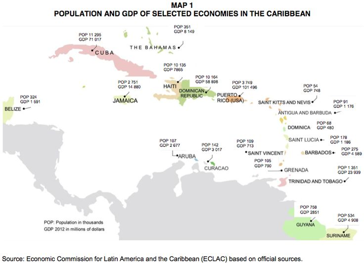 Population and GDP map of the Caribbean - Breaking News Trinidad and Tobago