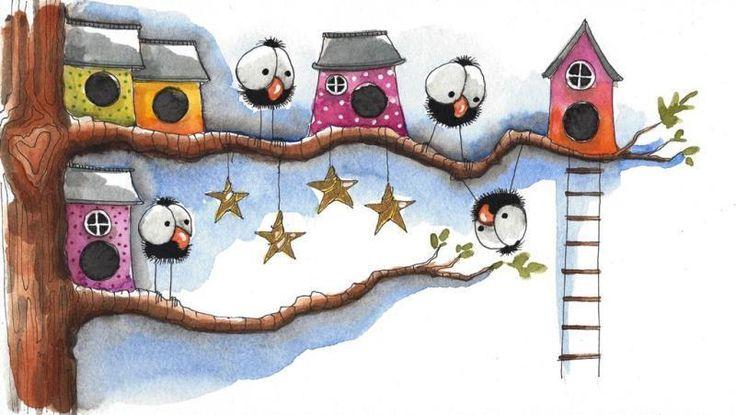 Original watercolor painting whimsical bird tree branches birdhouse stars ladder #IllustrationArt