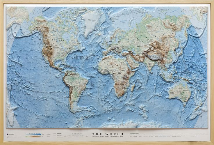 Raised Relief Map of The World