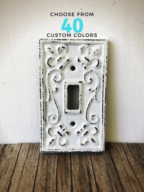 Shabby White Fleur De Lis Light Switch Cover Rustic French Country Kitchen Remodel Decorative Fa Frenchcountryhome