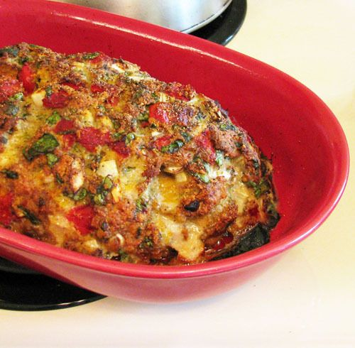 ... Turkey Meatloaf with Spinach, Roasted Red Peppers, & Parmesan Cheese