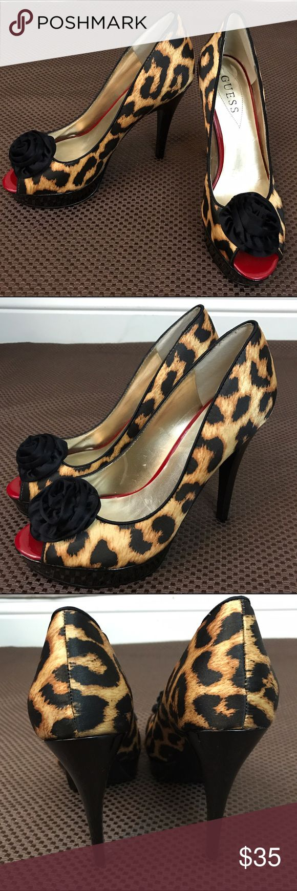 """Guess Pin Up animal print high heels Gently pre-owned. 5"""" heel height. Some small indents in heels      No major flaws to note and lots of wear left in these beauties. Guess Shoes Heels"""