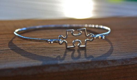 Puzzle Piece Sterling Silver Bangle Bracelet - Autism Jewelry, Autism Awareness, Teacher Jewelry, Autism Awareness Month
