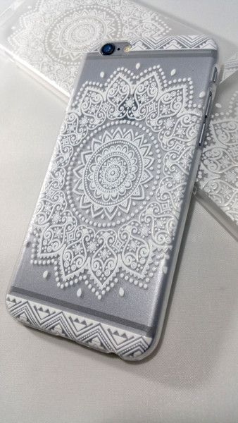 Featuring our fine henna collection! Snap-on hard plastic case with a unique henna design of floral mandala in white!