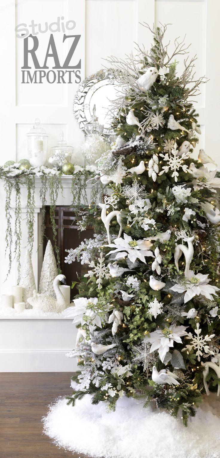 White christmas decorations studio raz imports 2007 for White xmas tree decoration ideas