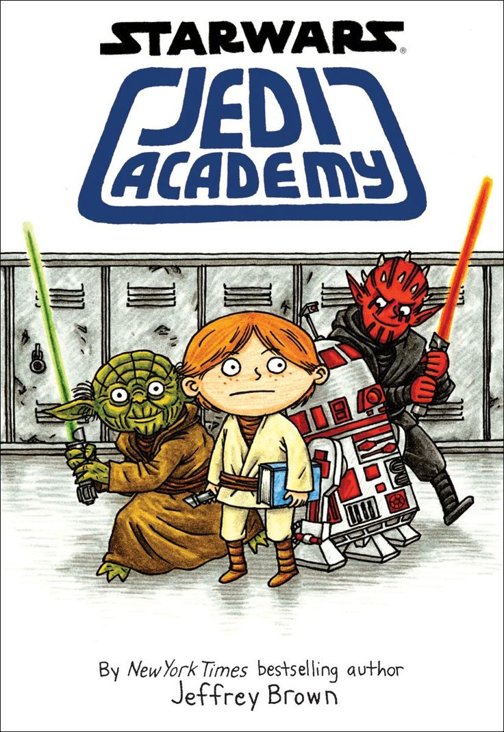 """""""Jedi Academy"""" by Jeffery Brown - My whole life I planned on going to pilot school like the rest of my friends then I got rejected! Along came a little green guy named Yoda who invited me to Jedi Academy. Now I'm at a school with aliens, robots, and lightsaber-wielding bullies who can lift things with their minds! How am I supposed to compete with that?"""