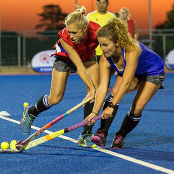 Doing what they do best, the SA Women's Hockey team train for their matches.