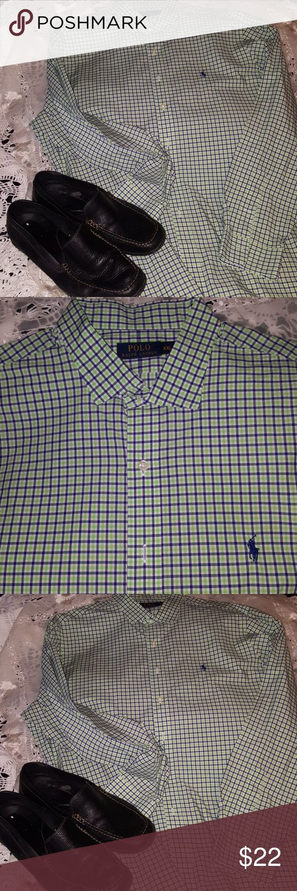 Polo Raph Lauren xxl green purple plaid shirt Worn once and dry cleaned Ralph Lauren Shirts Casual Button Down Shirts
