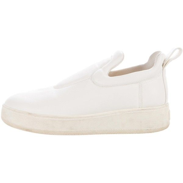Pre-owned C?line Platform Slip-On Sneakers ($380) ❤ liked on Polyvore featuring shoes, sneakers, white, white slip on shoes, white shoes, white slip on sneakers, white sneakers and white platform shoes
