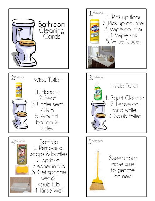 FREE Printables Chore Flip Cards -  Make sure there's no confusion about what to do. For bathroom, kitchen and living room. Blank squares to create more cards. (Note: I would divide up each room into the different steps. Some should be done daily, while others could be assigned once a week or as needed. That's the way I clean my own home, one small step at a time.)