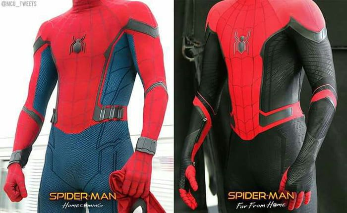 A Comparison Between Spider Man S Stark Suit In Homecoming Vs His Upgraded Suit In Far From Home Spiderman Homecoming Suit Spiderman Suits Man Thing Marvel
