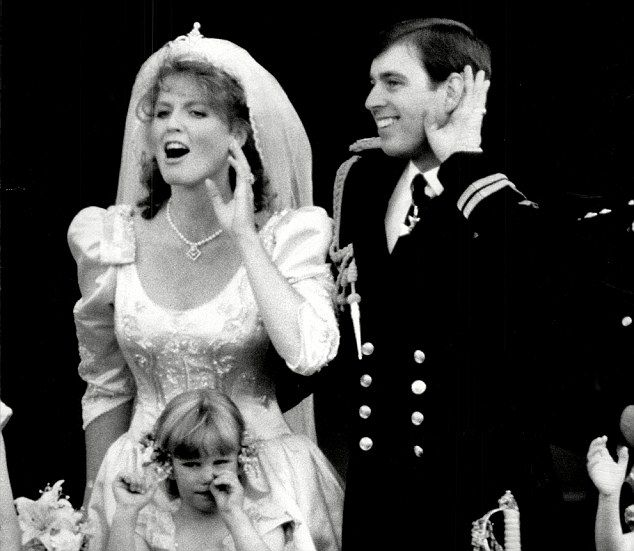 On good terms...Prince Andrew and Sarah Ferguson, on their wedding day in 1986 on the balcony at Buckingham Palace, have remained close since their divorce.