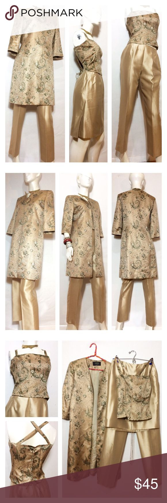 4 Pc Gold Brocade Suit w Corset Pants Skirt Jacket gorgeous vtg brocade suit! Comes w a long jacket w 2 pockets & zip closure.  Matching corset has side zip closure on each side, stretch elastic in back underneath the criss cross laces, adjustable shoulder straps & lined w boning for a slimming silhouette.  Pants & skirt are both pleated, have zip closure & are 100% silk. Sleek gold color! All items are lined - purchased at an estate sale & inspected for tears, stains, etc - no snags /flaws…