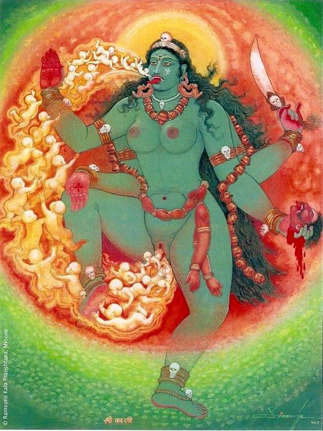 Kali puja painting by Shri GLN Simha