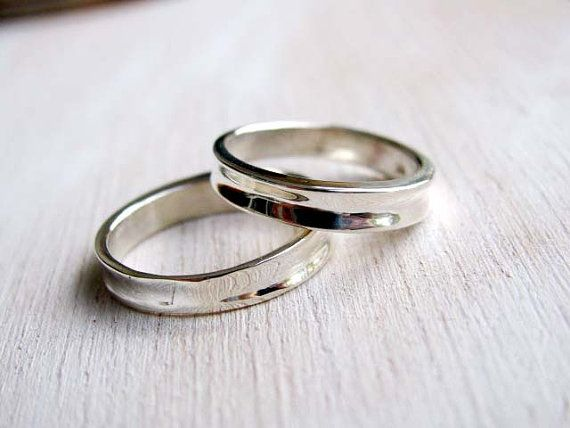 Simple contemporary wedding bands set, Elegant Wedding rings set 5mm, Sterling Silver classic wedding rings, custom made for bride and groom...