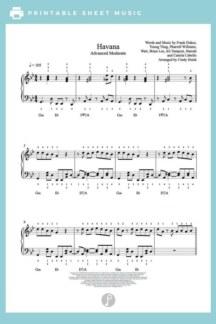 Havana by Camila Cabello Feat  Young Thug Piano Sheet Music