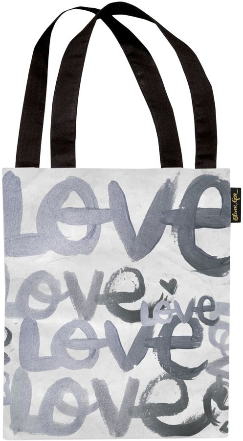 Oliver Gal Four Letter Word Silver Tote Bag