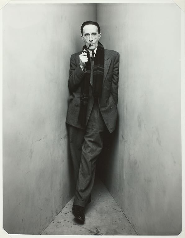 Marcel Duchamp (July 28, 1887 - 1968), French artist associated with Dada and Surrealism, and a huge enabler and influence for several generations of artists that followed. Duchamp moved the conception of art and its boundaries more than any other 20th C. figure…    Photo: Irving Penn cornered Marcel Duchamp in 1948