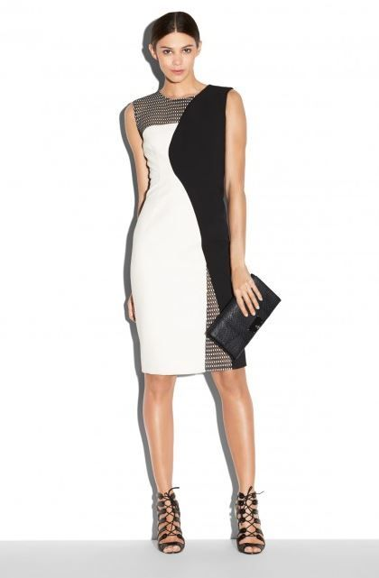 Milly  Couture Mesh Helix' Colorblock Dress Curvaceous monochrome color blocking takes center stage on a stunning sheath accented with knit mesh veiling the shoulder, back yoke and hem