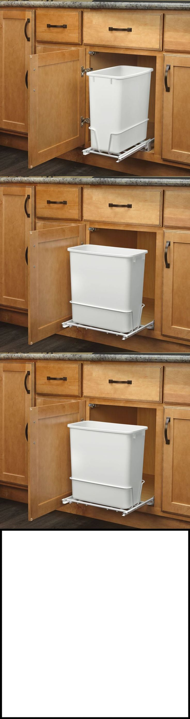 White tilt out clothes storage basket bin bathroom drawer ebay - Trash Cans And Wastebaskets 20608 20 Quart White Trash Can Kitchen Waste Bin Garbage