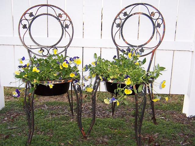 chairs with flower pot seats...so cute and clever