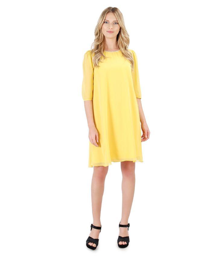This spring, enjoy sunny colours! spring17   YOKKO #dress #party #swarovski #yellow #evening #spring17 #yokko