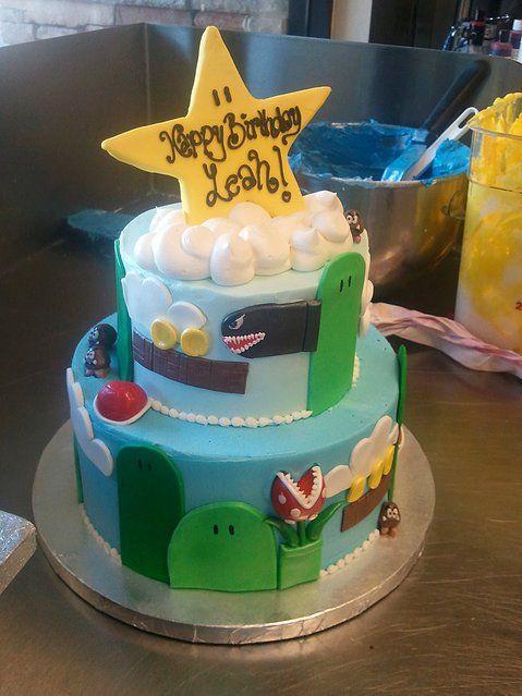 Super mario cake, video games, nintendo games, gamer, cake, birthday cake,